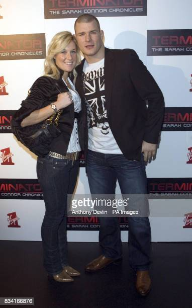 Michael Bisping and guest arrive for the Terminator The Sarah Connor Chronicles launch party at 24 London in west London