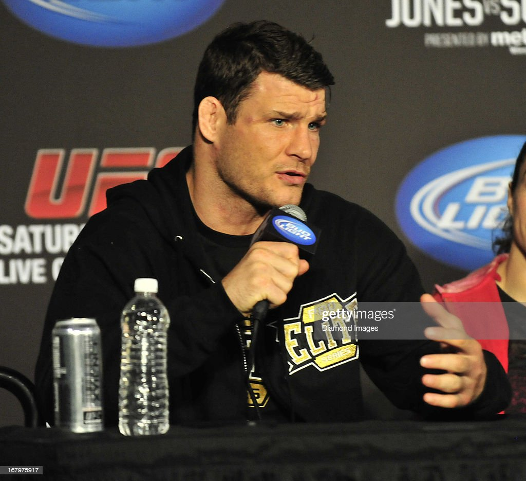 Michael Bisping answers questions from the media after UFC 159 Jones v. Sonnen at Prudential Center in Newark, New Jersey.
