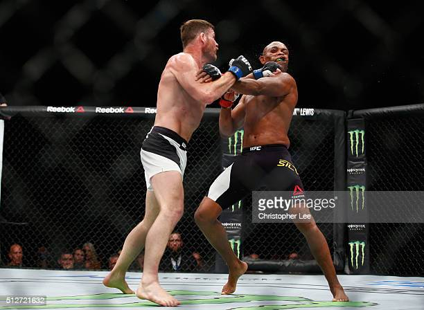 Michael Bisping of Great Britain in action as he beats Anderson Silva of Brazil during the Middleweight Bout of the UFC Fight Night at The O2 Arena...