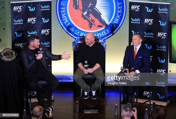 Michael Bisping speaks to the media during the UFC 217 press conference with Dana White and Georges StPierre at the Hockey Hall of Fame on October 13...