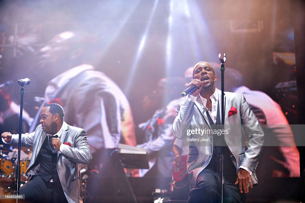 Michael Bivins and Ralph Tresvant of New Edition performs at Miami Gardens' 8th Annual Jazz In The Gardens Music Festival - Day 1 at Sun Life Stadium on March 16, 2013 in Miami Gardens, Florida.