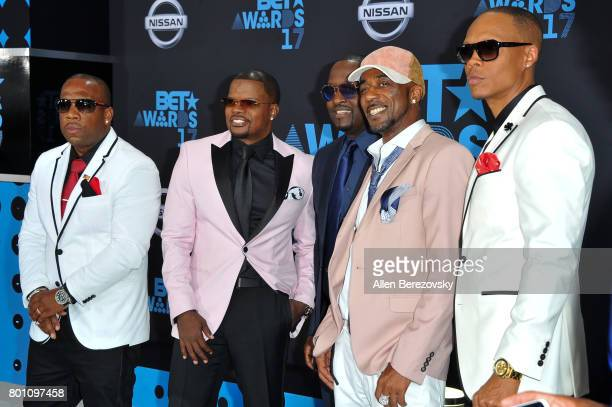 Michael Bivins Ricky Bell Johnny Gill Ralph Tresvant and Ronnie DeVoe of New Edition arrive at the 2017 BET Awards at Microsoft Theater on June 25...