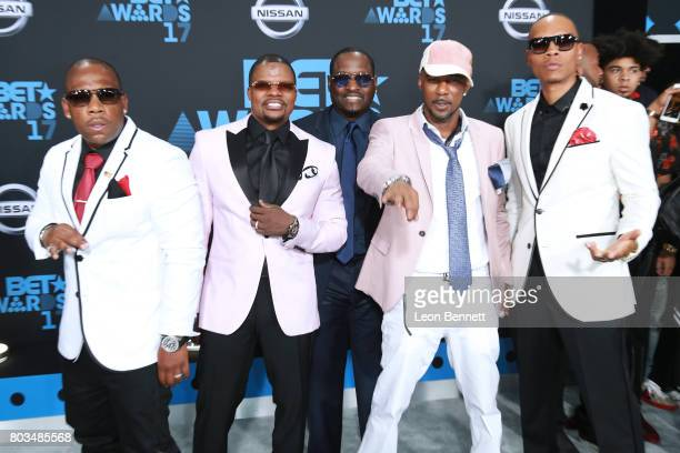 Michael Bivins Ricky Bell Johnny Gill Ralph Tresvant and Ronnie DeVoe of New Edition arrives at the 2017 BET Awards at Microsoft Theater on June 25...