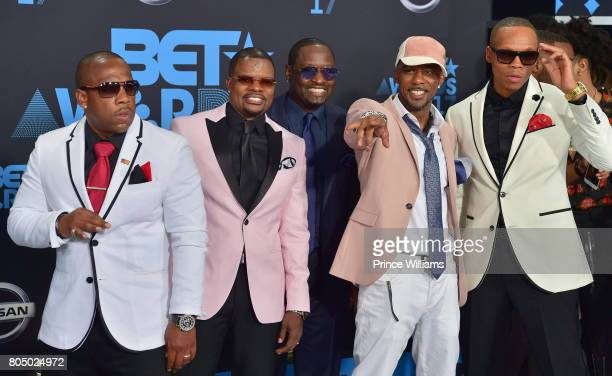 Michael Bivins Ricky Bell Johnny Gill Ralph Tresvant and Ronnie DeVoe of New Edition attends the 2017 BET Awards at Microsoft Theater on June 25 2017...