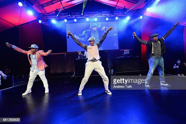 Michael Bivins Ronnie DeVoe Ricky Bell of Bell Biv DeVoe perform on stage at Russell Simmons' Rush Philanthropic Arts Foundation Celebrates 20th...