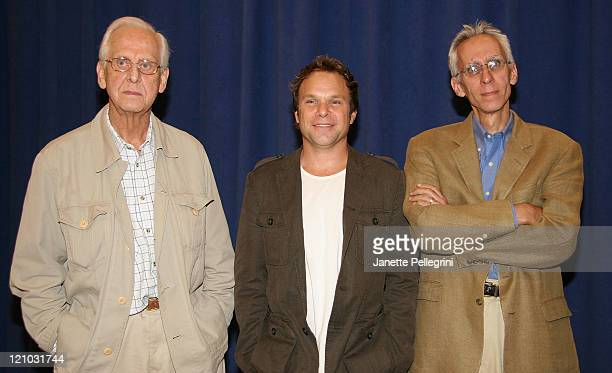 Michael Blakemore Director David Ives Adaptor and Norbert Leo Butz cast member attends 'Is He Dead' Broadway Photocall at New 42nd Street Studios 229...