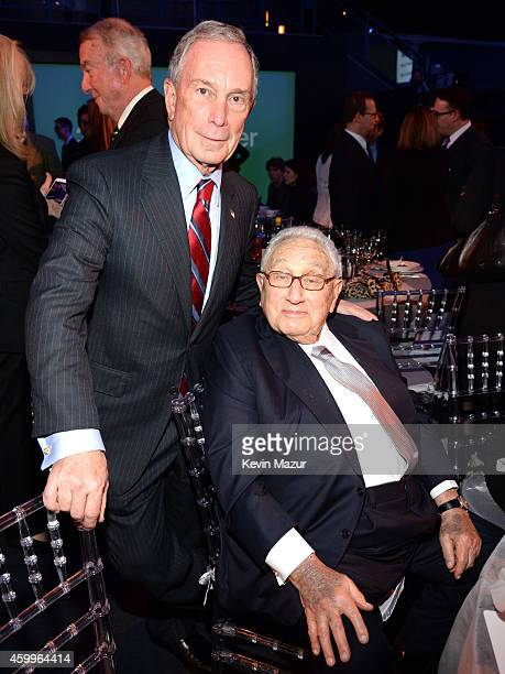 Michael Bloomberg and Henry Kissinger attend Bloomberg Businessweek's 85th Anniversary Celebration at American Museum of Natural History on December...