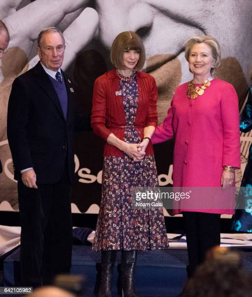 Michael Bloomberg Anna Wintour Hillary Clinton attend the Oscar de la Renta Forever Stamp dedication ceremony at Grand Central Terminal on February...