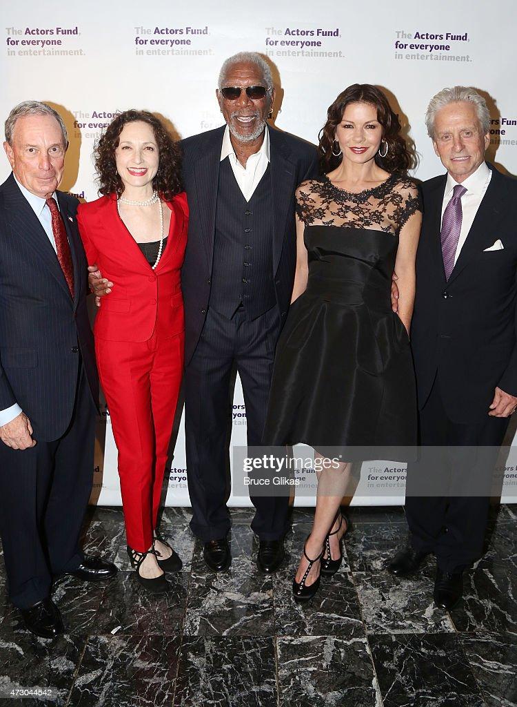 Michael Bloomberg, Bebe Neuwirth, Morgan Freeman, Catherine Zeta-Jones and Michael Douglas attend The 2015 Actors Fund Gala at The New York Marriott Marquis on May 11, 2015 in New York City.