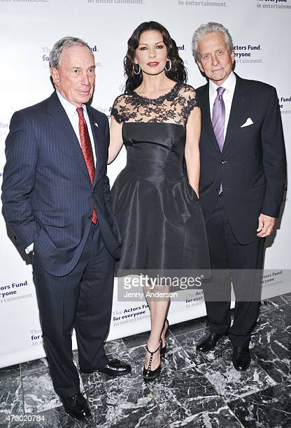Michael Bloomberg Catherine ZetaJones and Michael Douglas attend the 2015 Actors Fund Gala at The New York Marriott Marquis on May 11 2015 in New...