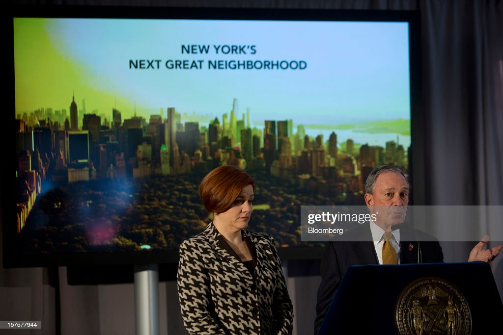 Michael Bloomberg, mayor of New York City, right, speaks while Christine Quinn, City Council speaker, listens during the groundbreaking ceremony for the Hudson Yards development in New York, U.S., on Tuesday, Dec. 4, 2012. Related Cos. has tentative deals in place for two more tenants to occupy the first tower of its Hudson Yards development, Chairman Stephen Ross said today as construction began at the 26-acre site on Manhattan's west side. Photographer: Victor J. Blue/Bloomberg via Getty Images