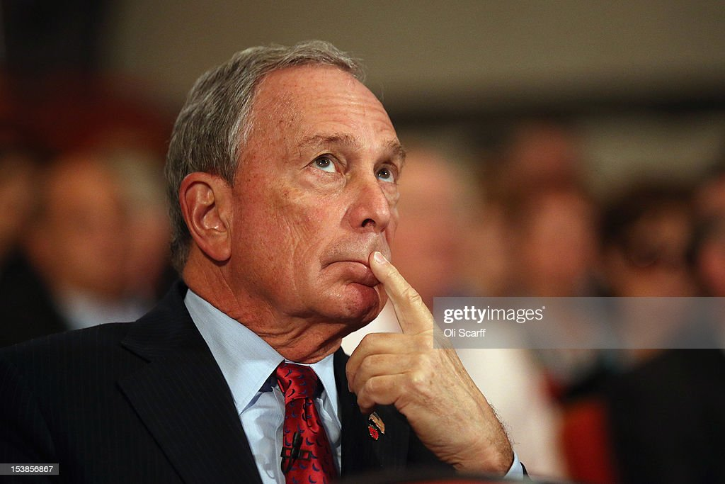Michael Bloomberg, the Mayor of New York City, looks on before delivering his speech to delegates on the last day of the Conservative party conference, in the International Convention Centre on October 10, 2012 in Birmingham, England. In his speech to close the annual, four-day Conservative party conference, Prime Minister David Cameron stated 'I'm not here to defend priviledge, I'm here to spread it'.
