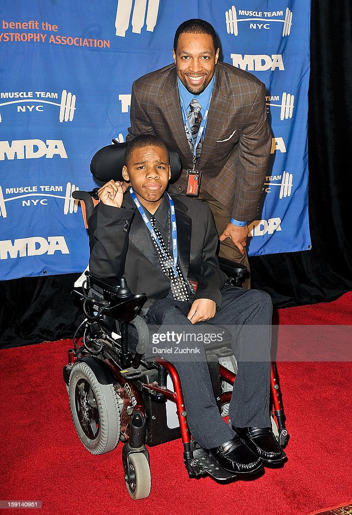 <a gi-track='captionPersonalityLinkClicked' href=/galleries/search?phrase=Michael+Boley&family=editorial&specificpeople=750373 ng-click='$event.stopPropagation()'>Michael Boley</a> (R) attends the 16th Annual MDA Muscle Team Gala and Benefit Auction at Pier 60 on January 8, 2013 in New York City.