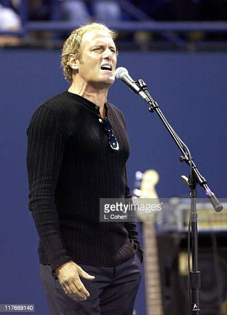 Michael Bolton during 2002 MercedesBenz Cup 'A Night at the Net' Celebrity Match at Los Angeles Tennis Center UCLA in Los Angeles California United...