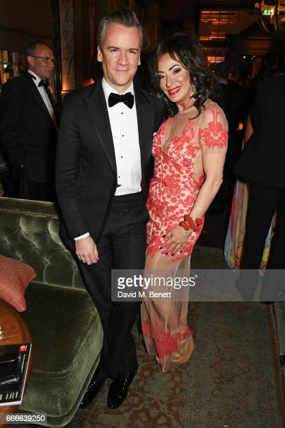 Michael Bonsor and Nancy Dell'Olio attend The Olivier Awards 2017 after party at Rosewood London on April 9 2017 in London England