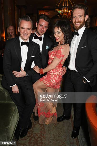 Michael Bonsor Jules Knight Nancy Dell'Olio and Craig McGinlay attend The Olivier Awards 2017 after party at Rosewood London on April 9 2017 in...