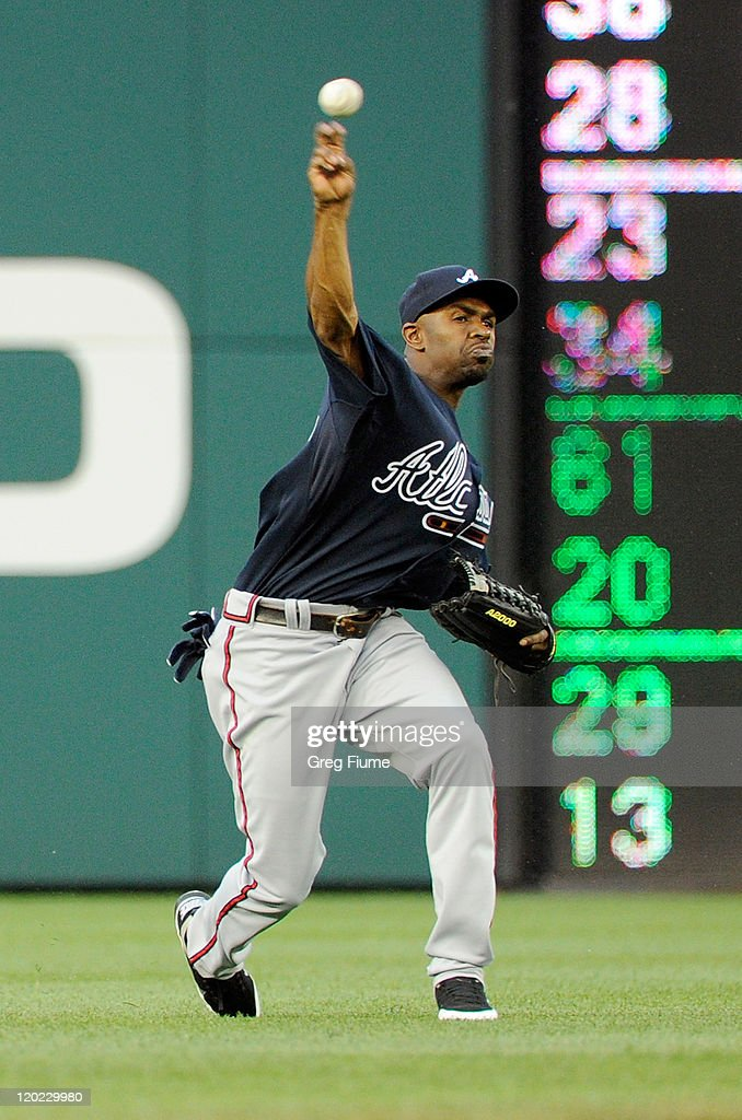 <a gi-track='captionPersonalityLinkClicked' href=/galleries/search?phrase=Michael+Bourn&family=editorial&specificpeople=835742 ng-click='$event.stopPropagation()'>Michael Bourn</a> #24 of the Atlanta Braves throws the ball in from center field in the second inning against the Washington Nationals at Nationals Park on August 1, 2011 in Washington, DC.