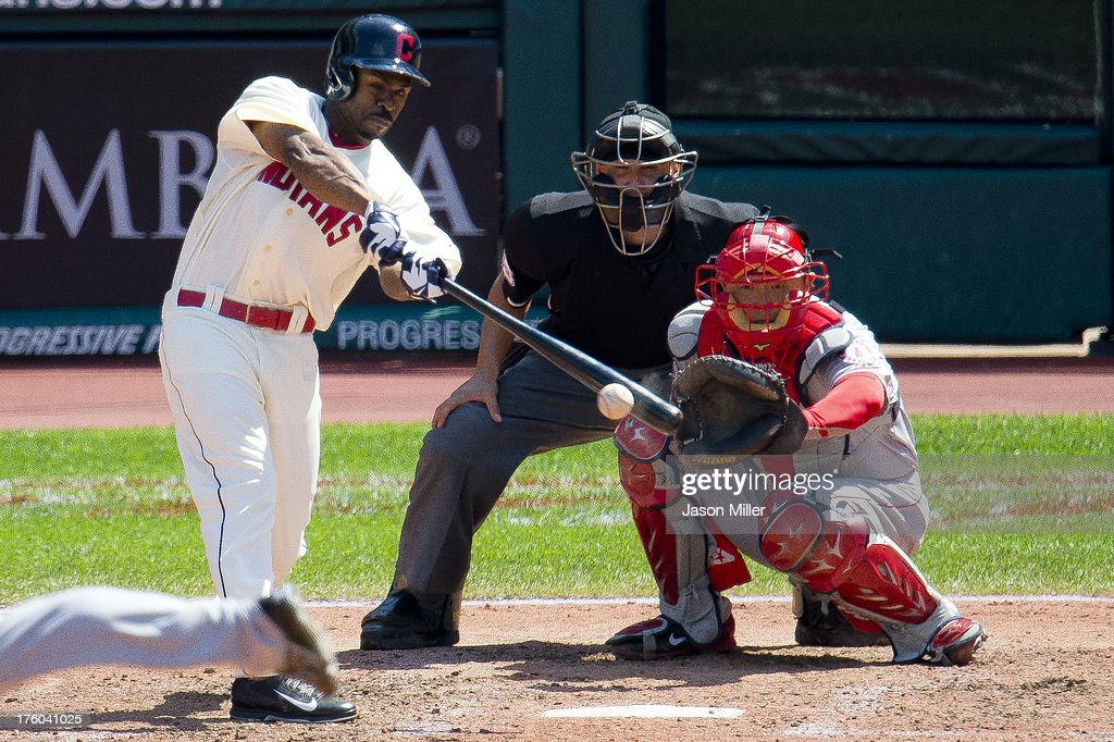<a gi-track='captionPersonalityLinkClicked' href=/galleries/search?phrase=Michael+Bourn&family=editorial&specificpeople=835742 ng-click='$event.stopPropagation()'>Michael Bourn</a> #24 of the Cleveland Indians hits a single during the sixth inning against the Los Angeles Angels of Anaheim at Progressive Field on August 11, 2013 in Cleveland, Ohio.