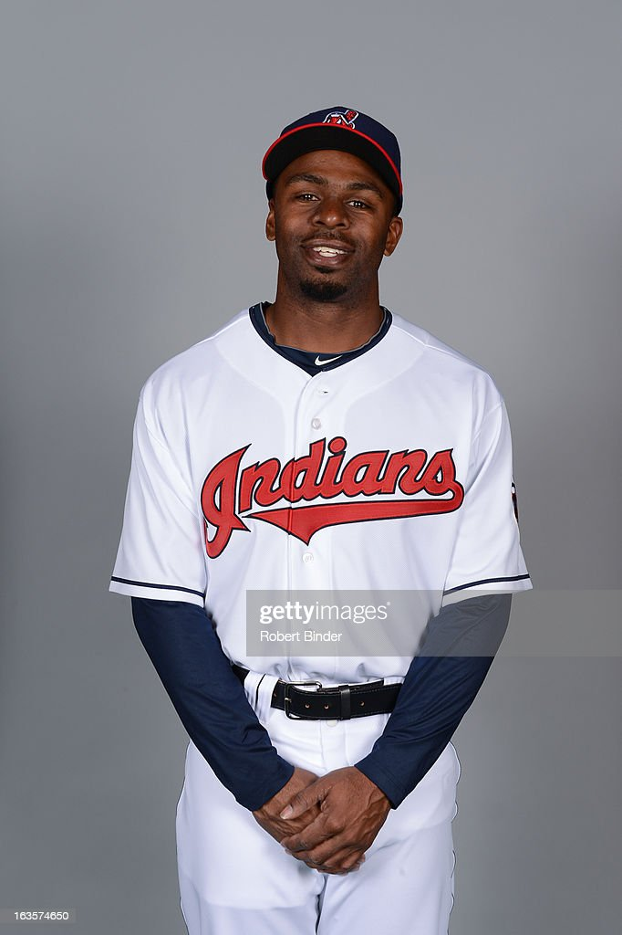 <a gi-track='captionPersonalityLinkClicked' href=/galleries/search?phrase=Michael+Bourn&family=editorial&specificpeople=835742 ng-click='$event.stopPropagation()'>Michael Bourn</a> #24 of the Cleveland Indians poses during Photo Day on February 19, 2013 at Goodyear Ballpark in Goodyear, Arizona.