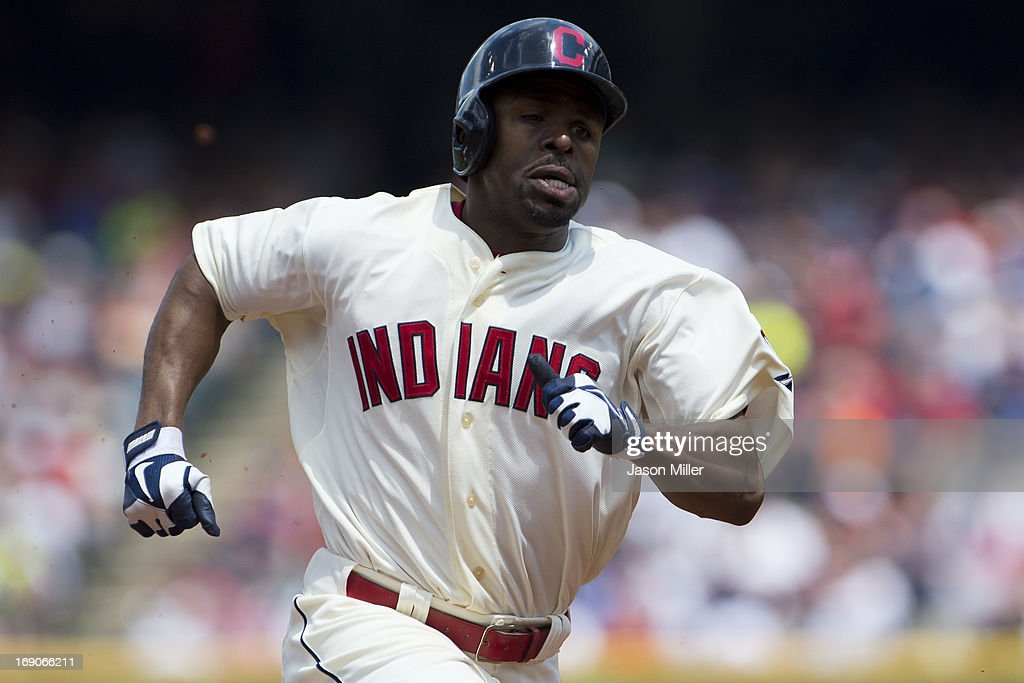 <a gi-track='captionPersonalityLinkClicked' href=/galleries/search?phrase=Michael+Bourn&family=editorial&specificpeople=835742 ng-click='$event.stopPropagation()'>Michael Bourn</a> #24 of the Cleveland Indians rounds the bases on a hit by Jason Kipnis #22 during the second inning at Progressive Field on May 19, 2013 in Cleveland, Ohio.