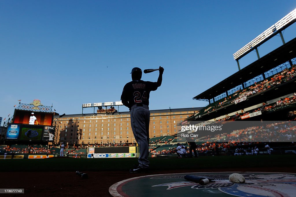 <a gi-track='captionPersonalityLinkClicked' href=/galleries/search?phrase=Michael+Bourn&family=editorial&specificpeople=835742 ng-click='$event.stopPropagation()'>Michael Bourn</a> #24 of the Cleveland Indians waits to bat against the Baltimore Orioles at Oriole Park at Camden Yards on June 25, 2013 in Baltimore, Maryland.