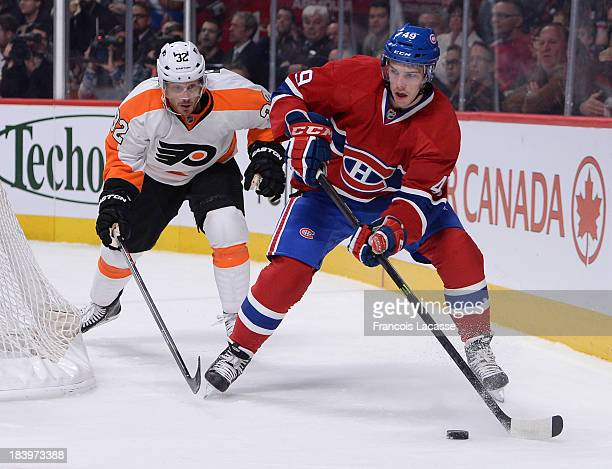 Michael Bournival of the Montreal Canadiens skates with the puck against the Philadelphia Flyers during the NHL game on October 5 2013 at the Bell...