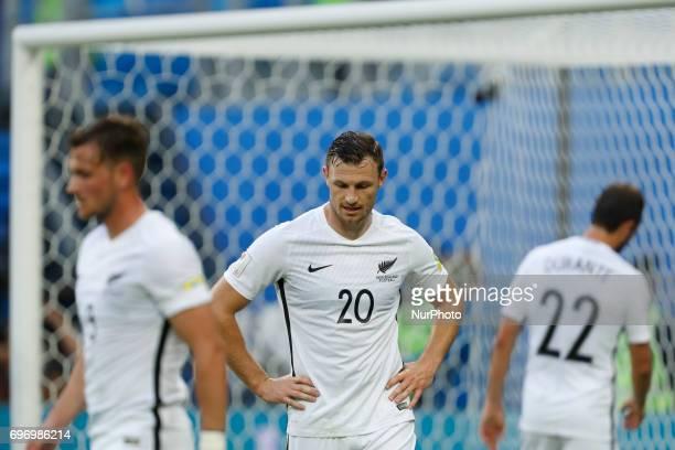 Michael Boxall of New Zealand national team Tommy Smith of New Zealand national team Andrew Durante of New Zealand national team react during the...