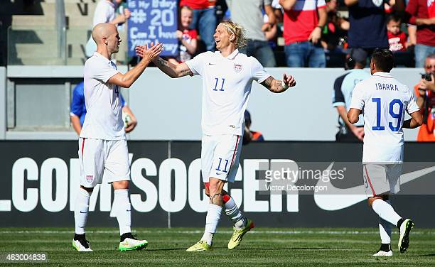 Michael Bradley and Brek Shea of the USA celebrates Bradley's goal in the first half against Panama during the international men's friendly match at...