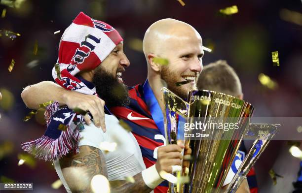 Michael Bradley and Tim Howard of the United States celebrate after they beat Jamaica in the 2017 CONCACAF Gold Cup Final at Levi's Stadium on July...
