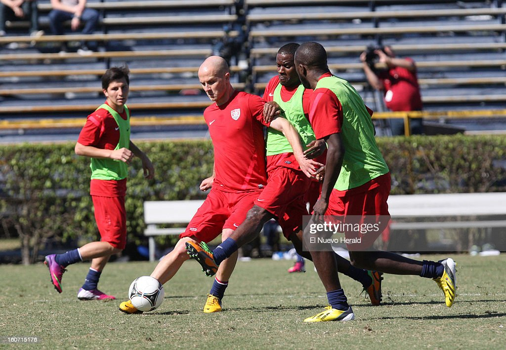 Michael Bradley controls the ball during practice at Florida International University in Miami, Florida, Monday, February 4, 2013.