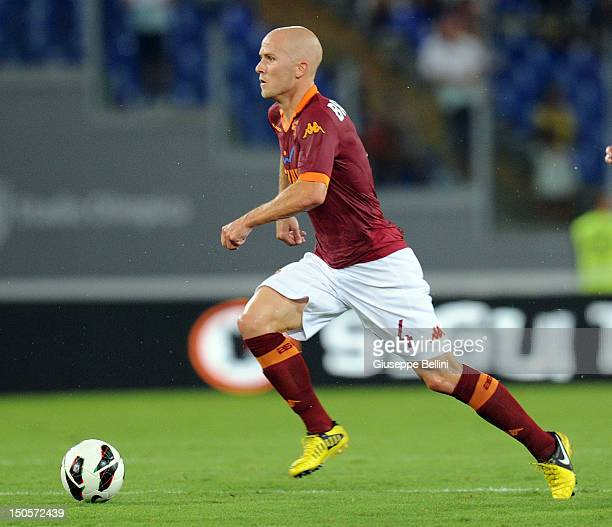 Michael Bradley of Roma in action during the preseason friendly match between AS Roma and Aris Thessaloniki FC at Olimpico Stadium on August 19 2012...