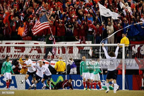Michael Bradley of Team USA celebrates his unassisted goal in the 43rd minute of the first half against Mexico during their FIFA World Cup qualifying...
