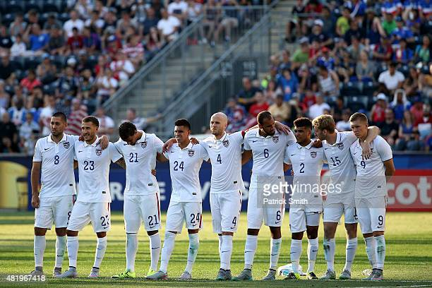 Michael Bradley of the United States and teammates look on in a penalty shootout against Panama during the CONCACAF Gold Cup Third Place Match at PPL...
