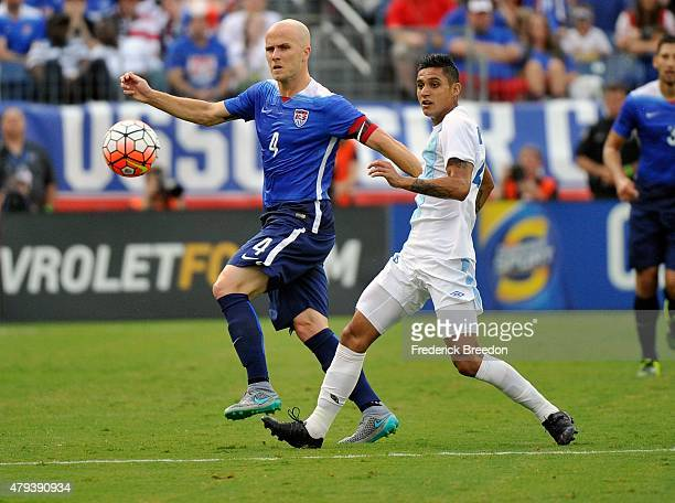 Michael Bradley of the United States chases a ball during the first half of an international friendly match against Guatemala at Nissan Stadium on...
