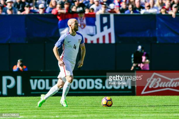 Michael Bradley of the United States dribbles the ball against Serbia in the second half of the match at Qualcomm Stadium on January 29 2017 in San...