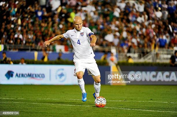 Michael Bradley of the United States moves the ball during the 2017 FIFA Confederations Cup Qualifier against Mexico at Rose Bowl on October 10 2015...