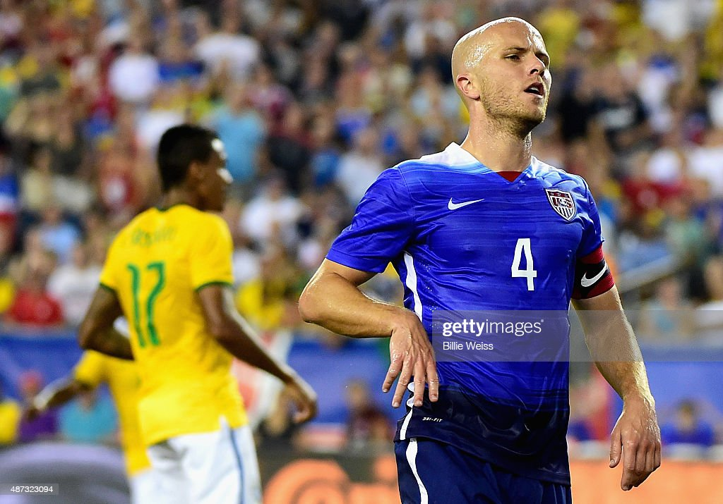 <a gi-track='captionPersonalityLinkClicked' href=/galleries/search?phrase=Michael+Bradley+-+Soccer+Player&family=editorial&specificpeople=7022299 ng-click='$event.stopPropagation()'>Michael Bradley</a> #4 of the United States reacts after missing a shot on goal during an international friendly against Brazil at Gillette Stadium on September 8, 2015 in Foxboro, Massachusetts.