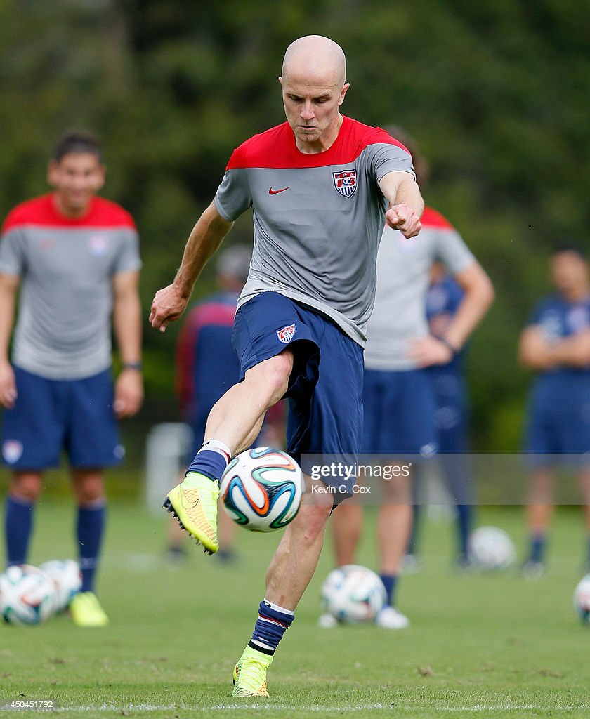 Michael Bradley of the United States runs drills during their training session at Sao Paulo FC on June 11, 2014 in Sao Paulo, Brazil.