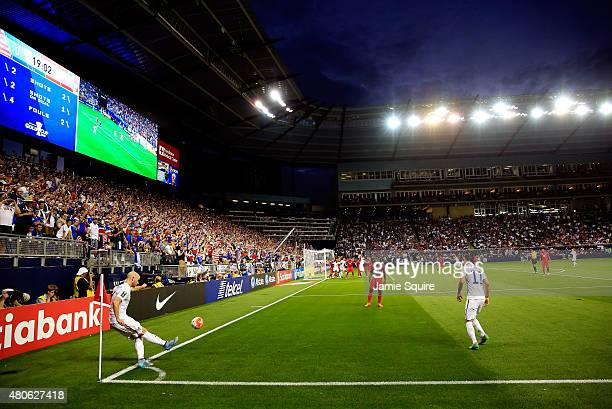 Michael Bradley of the USA takes a corner kick during the CONCACAF Gold Cup match against Panama at Sporting Park on July 13 2015 in Kansas City...