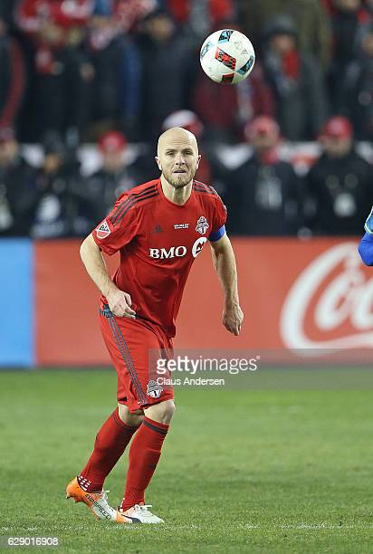 Michael Bradley of Toronto FC heads the ball forward against the Seattle Sounders during the 2016 MLS Cup at BMO Field on December 10 2016 in Toronto...