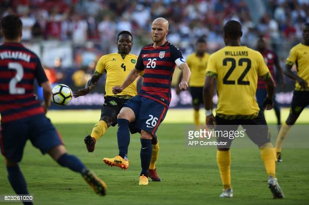 Michael Bradley of USA hits the ball against Jamaica during the 2017 CONCACAF Gold Cup Final July 26 2017 at Levi's Stadium in Santa Clara California...