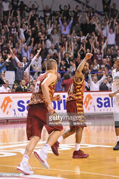 Michael Bramos and Mike Green of Umana celebrates during the LegaBsaket Serie A match between Reyer Umana Venezia and Sidigas Avellino at Palasport...