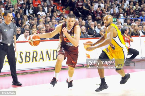 Michael Bramos of Umana competes with Andre Jones of Fiat during the LBA LegaBasket of Serie A match between Reyer Umana Venezia and Auxilium Fiat...