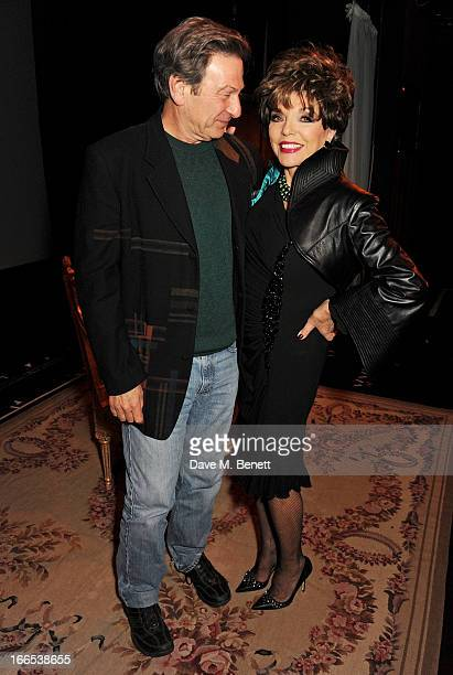 Michael Brandon and Joan Collins pose backstage following the opening night performance of her one woman show 'Joan Collins One Night With Joan' at...