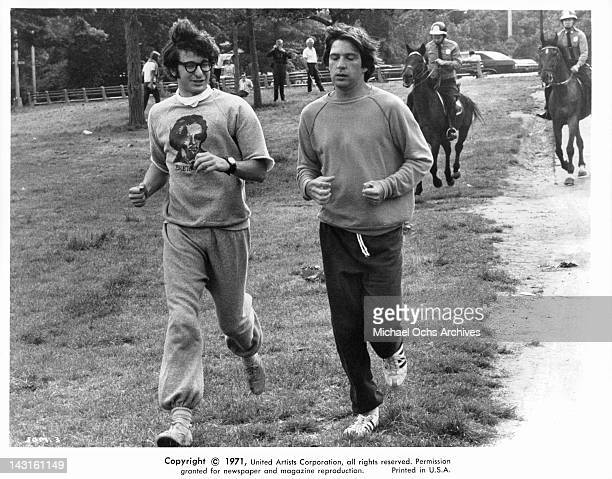 Michael Brandon and Steve Vinovich start sprinting at the park in a scene from the film 'Jennifer On My Mind' 1971