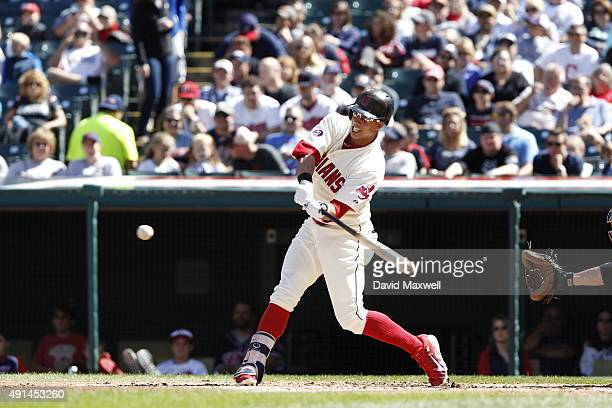 Michael Brantley of the Cleveland Indians bats against the Chicago White Sox during the first inning of their game on September 20 2015 at...