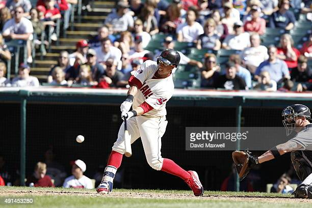 Michael Brantley of the Cleveland Indians bats against the Chicago White Sox during the fifth inning of their game on September 20 2015 at...