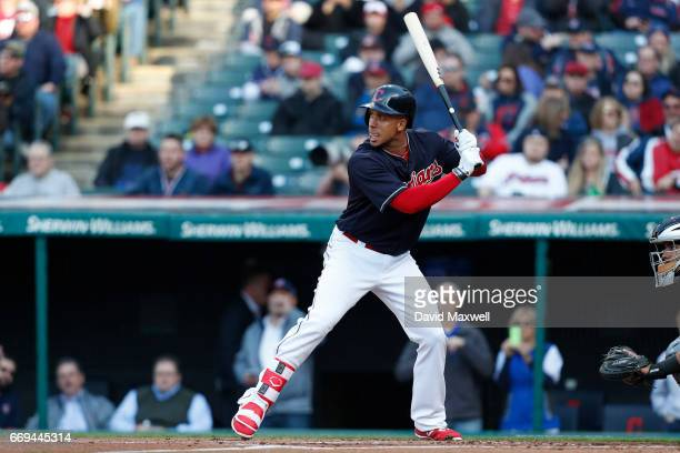 Michael Brantley of the Cleveland Indians bats against the Chicago White Sox in the first inning at Progressive Field on April 12 2017 in Cleveland...