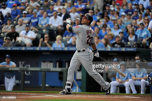 Michael Brantley of the Cleveland Indians bats against the Kansas City Royals at Kauffman Stadium on September 27 2015 in Kansas City Missouri
