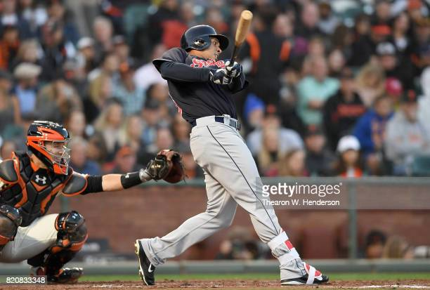 Michael Brantley of the Cleveland Indians bats against the San Francisco Giants in the top of the third inning at ATT Park on July 18 2017 in San...